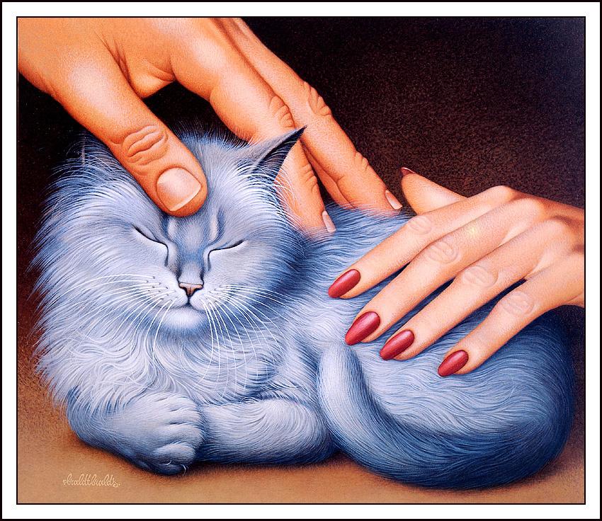 Рисунки кошки с людьми