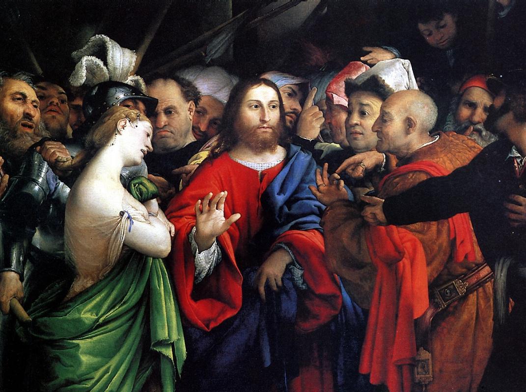 Лоренцо Лотто. Христос и грешница