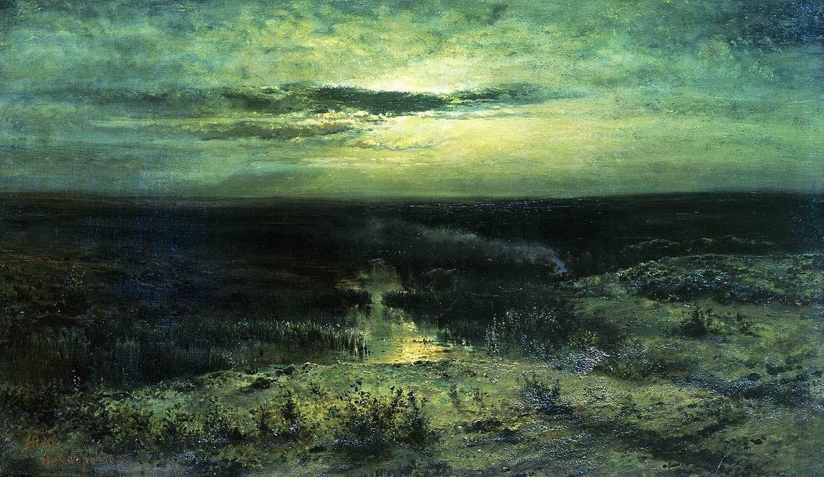 Alexey Savrasov. Moonlit night. Swamp