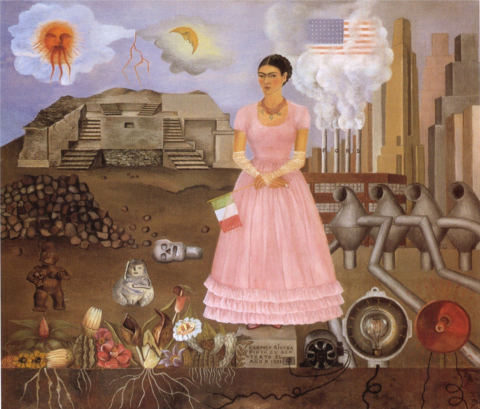 Frida Kahlo. Self portrait on the border between Mexico and the United States
