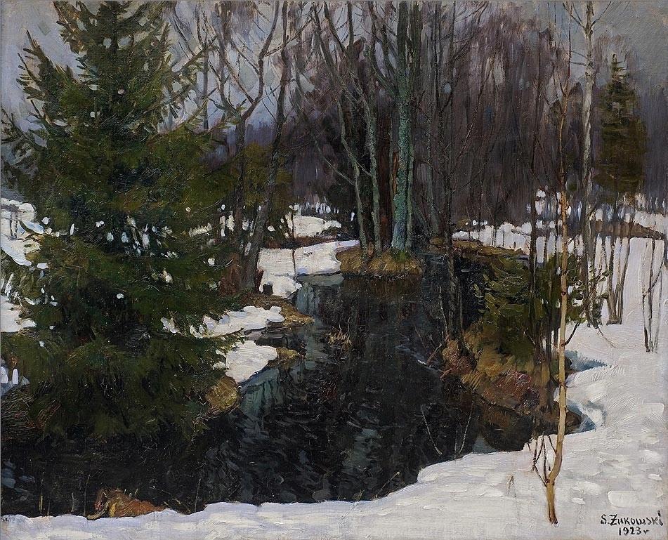 Stanislav Yulianovich Zhukovsky. Spring in winter forest