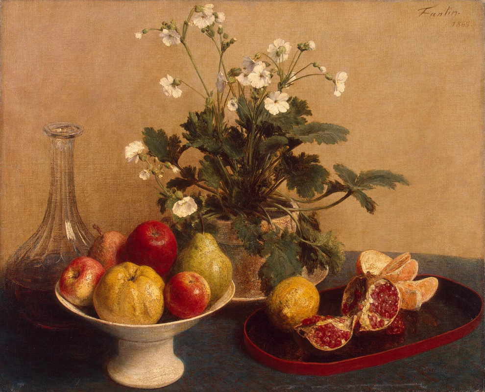 Анри Фантен-Латур. Цветы, ваза с фруктами и графин