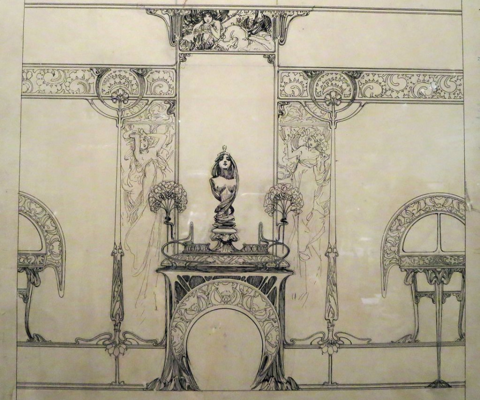Alfonse Mucha. A sketch of the interior jewelry boutique of Georges Fouquet