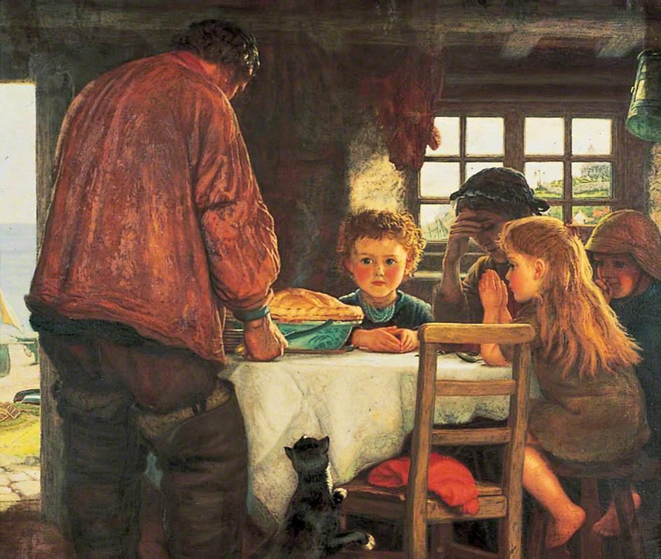Артур Хьюз. Семья рыбака за молитвой