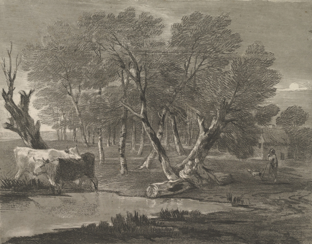 Thomas Gainsborough. Landscape with cows in a pond