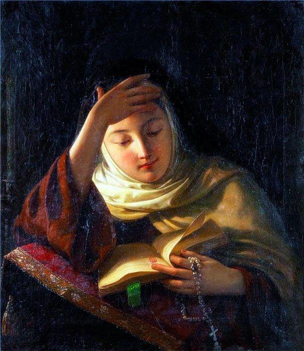 Сергей Иванович Грибков. Молодая монахиня во время молитвы
