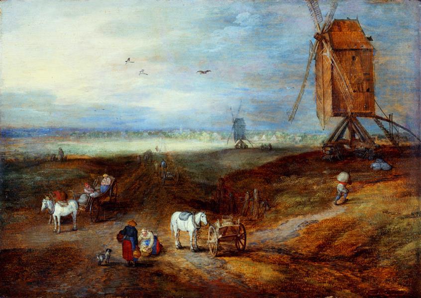 Ян Брейгель Старший. Равнина с ветряными мельницами