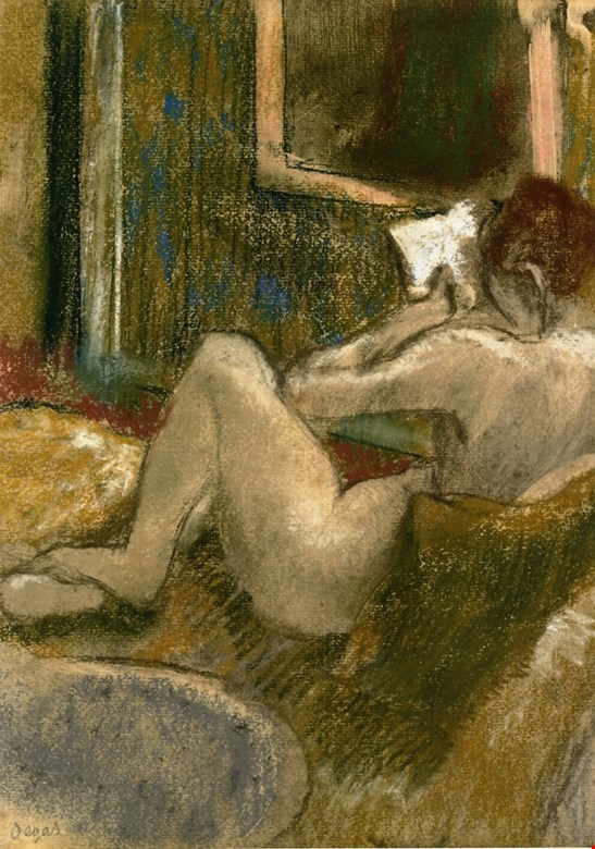 Edgar Degas. Reading. Nude from the back