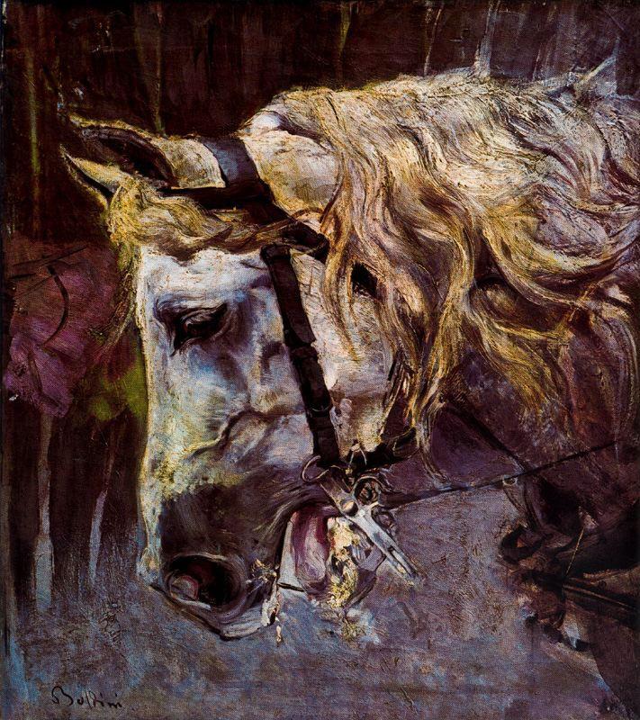 Giovanni Boldini. Horse's head. Sketch