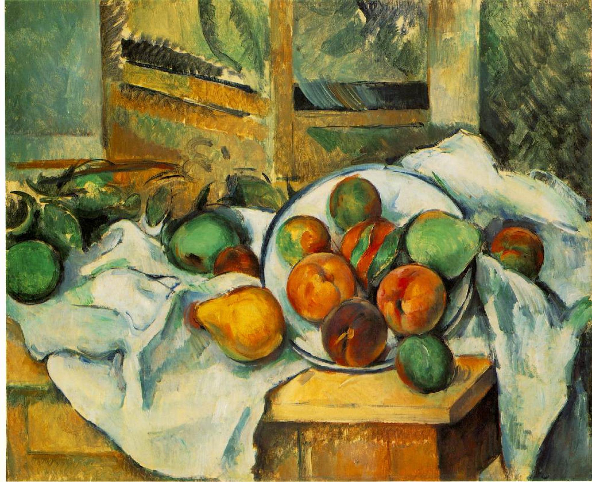 Поль Сезанн. Скатерть и фрукты