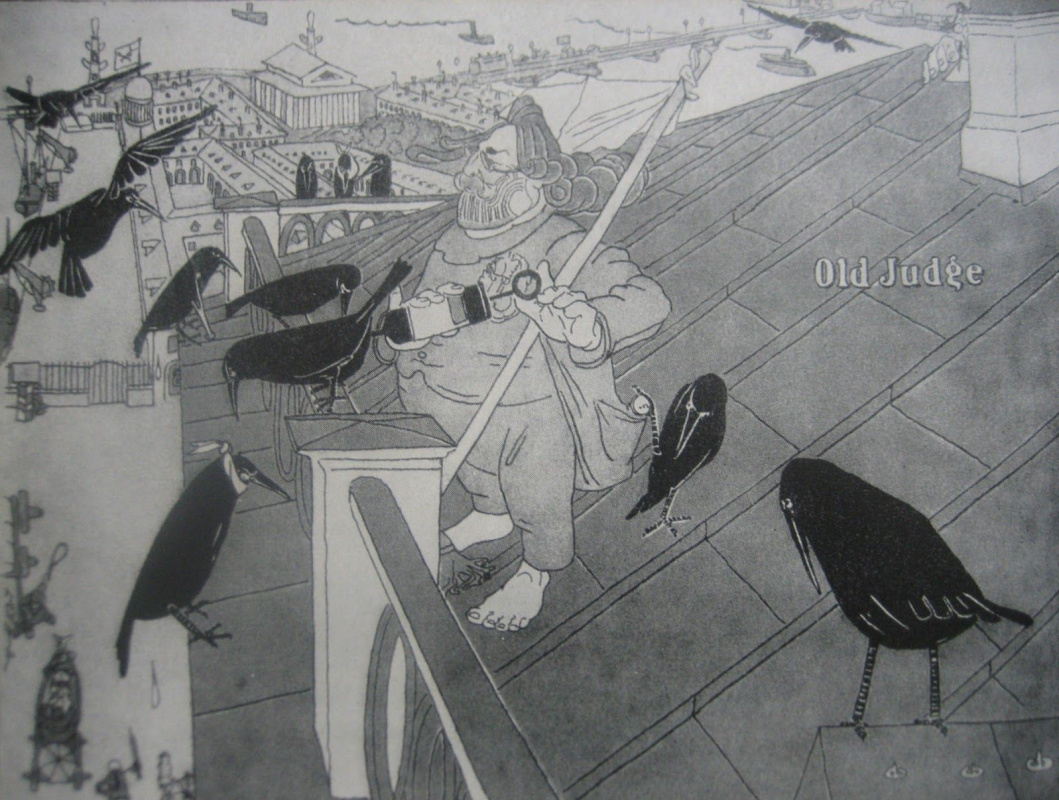 Pavel Egorovich Shcherbov. Feathered patients (A. I. Kuindzhi on the roof of his house).Caricature