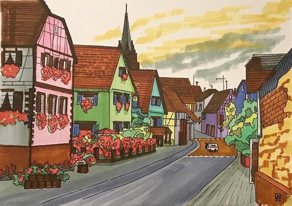 Larissa Lukaneva. Blossoming street. Sketch.