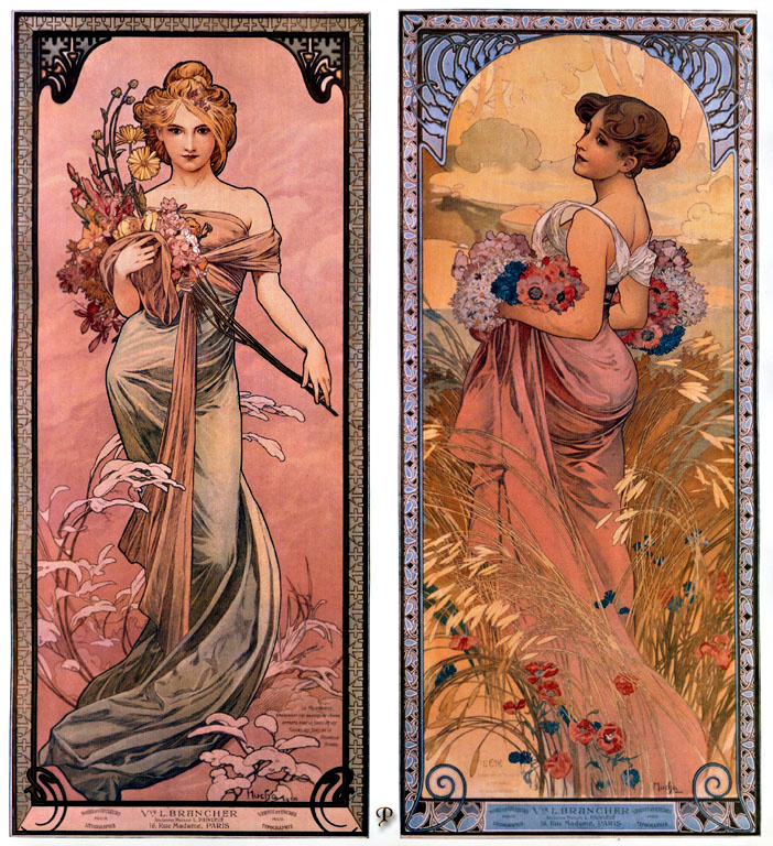 """Alfons Mucha. The spring and Summer. From the series """"Four seasons"""""""