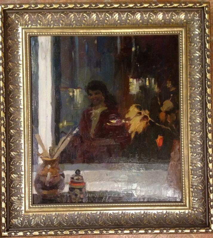 """Нина Ивановна Гаврилова. """"Отражение в окне"""", 1964г., к/м 50х56"""