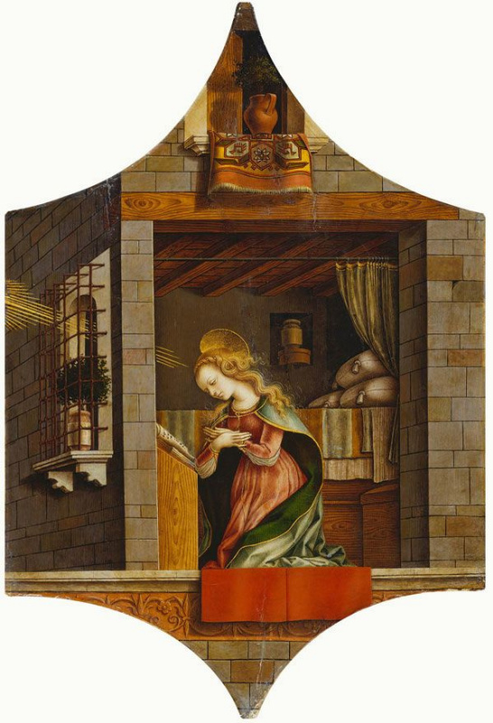 Carlo Crivelli. The Annunciation. Altar triptych, right top