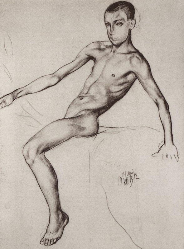 """The boy-rider. Study for the painting """"bathing the red horse"""""""