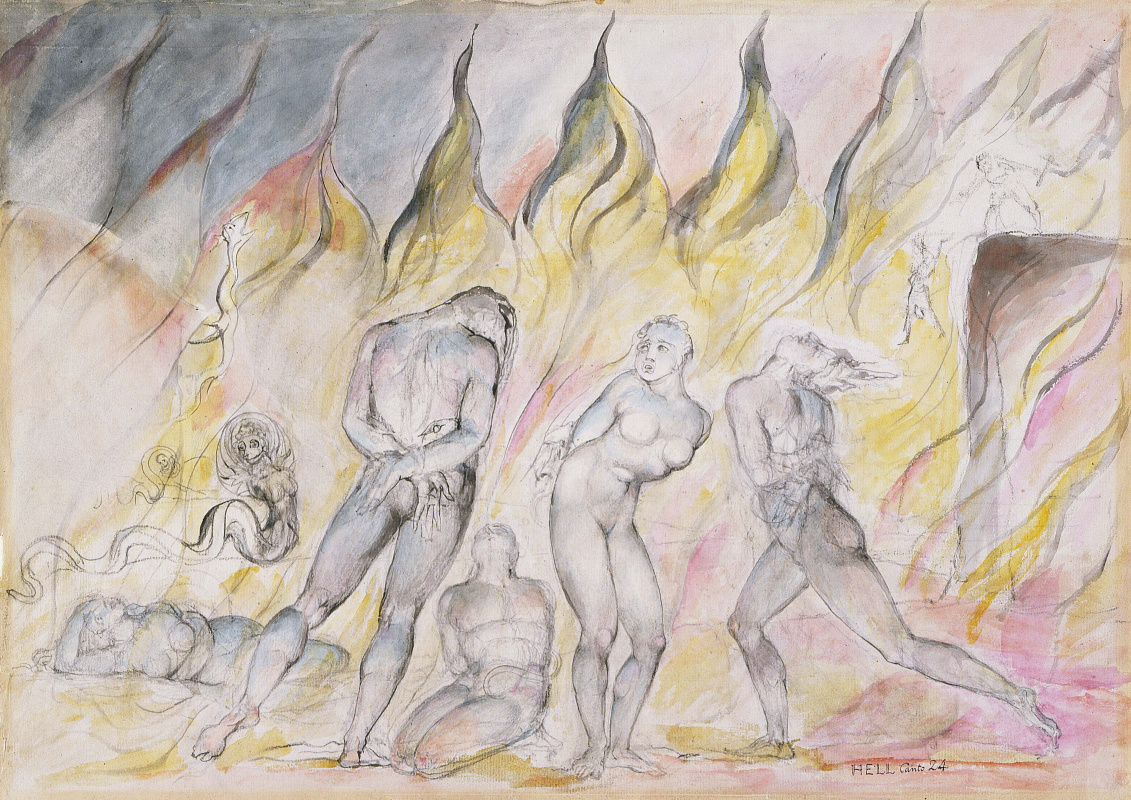 """William Blake. Thieves and snakes. Illustrations for """"the divine Comedy"""""""