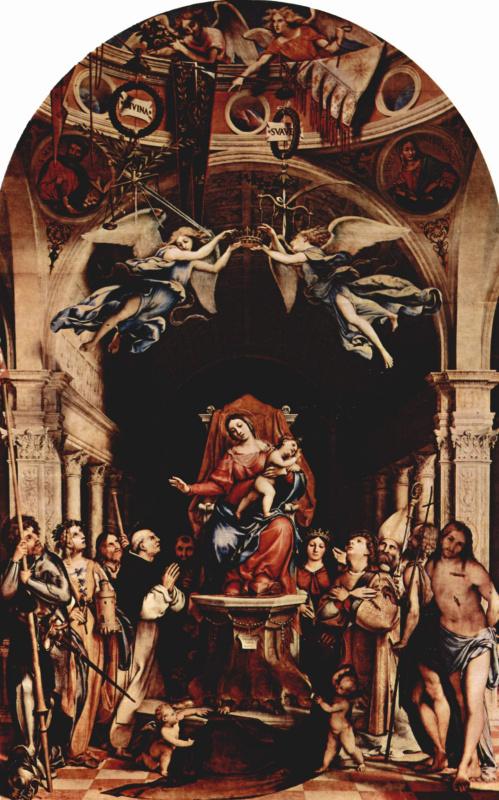 Лоренцо Лотто. Алтарный полиптих Сан Бартоломео в Бергамо, центральная часть. Мадонна на троне, ангелы и святые. Слева: Александр из Бергамо