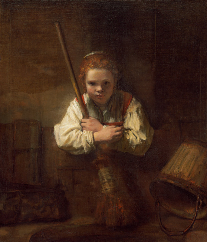 Karel Fabricius. The girl with the broom (workshop of Rembrandt van Rijn)