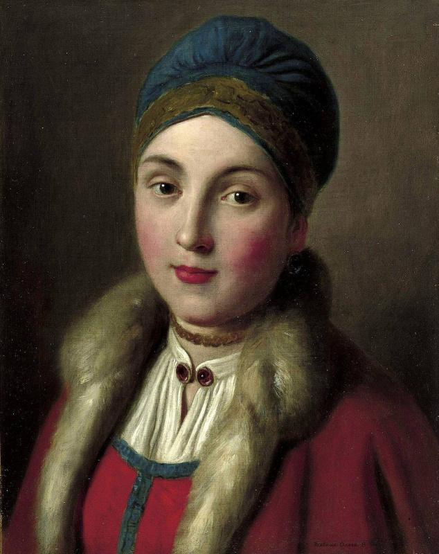 Портрет женщины с красным пальто с меховой отделкой, синей шляпой, белой блузкой