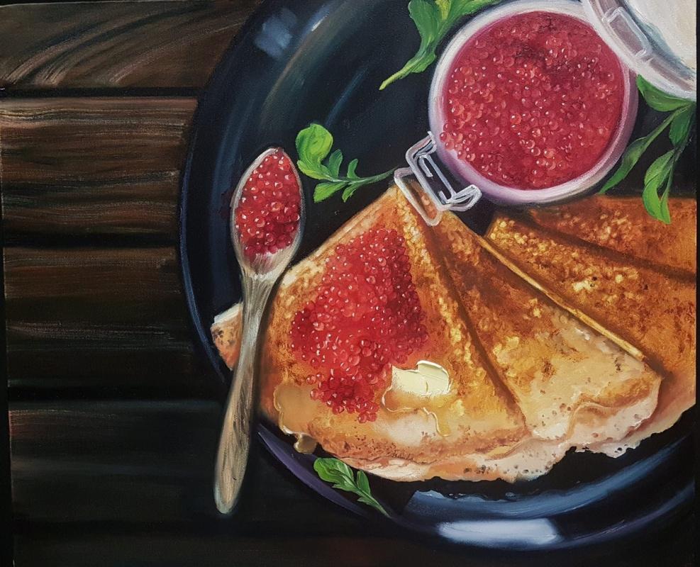 Olga Bazanova. Pancakes with caviar