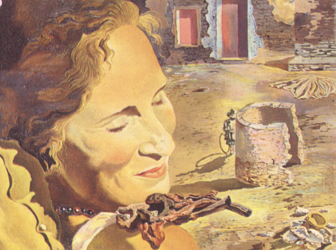 Salvador Dali. Portrait of Gala with two lamb chops balanced on her shoulder