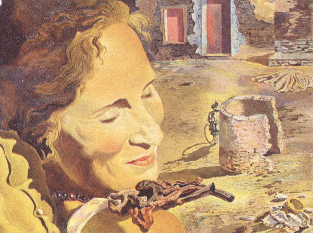 Сальвадор Дали. Портрет Гала с двумя ребрышками ягненка, балансирующими на ее плече