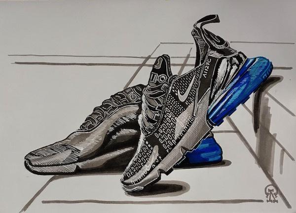 Larissa Lukaneva. Black sneakers. Sketch.