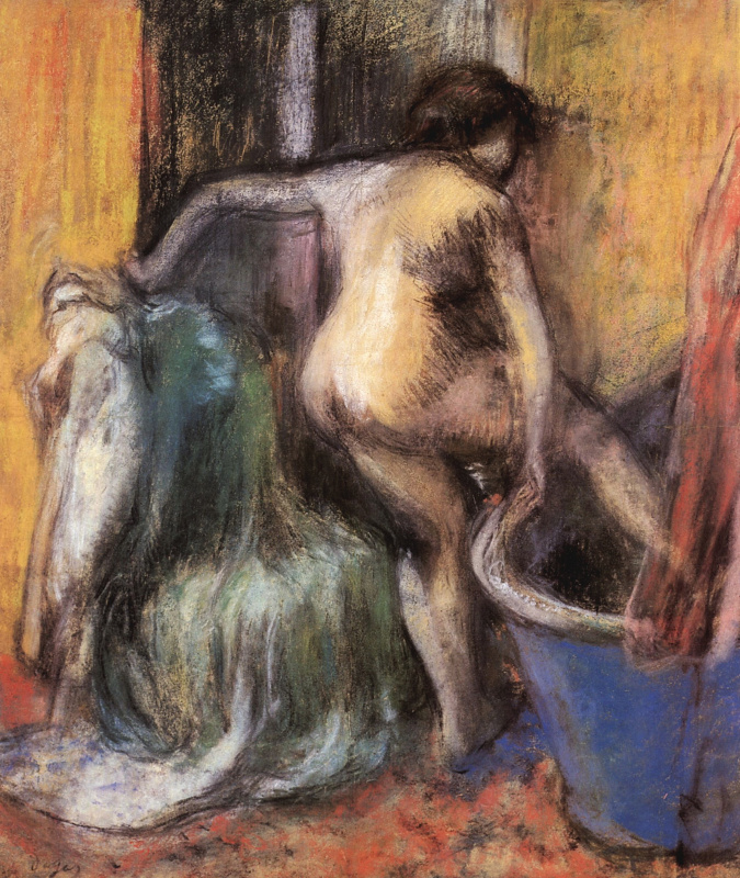 Edgar Degas. Nude, incoming in the tub