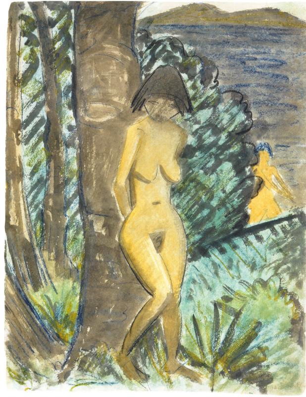 Отто Мюллер. Стоящая обнаженная, опираясь на дерево, с видом на озеро
