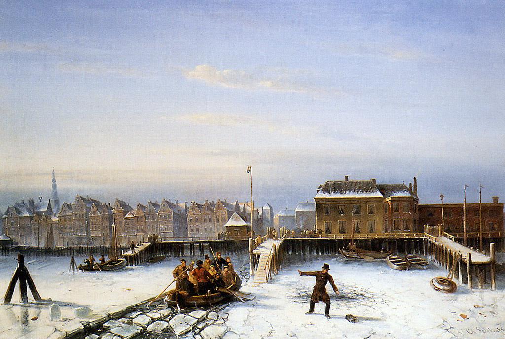 Charles Henry Joseph Lackert. Family Scholten on the ice