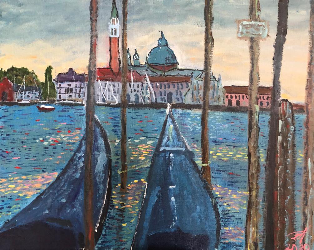 Sergey Vladimirovich Sebini. Venice. Sleeping gondolas.