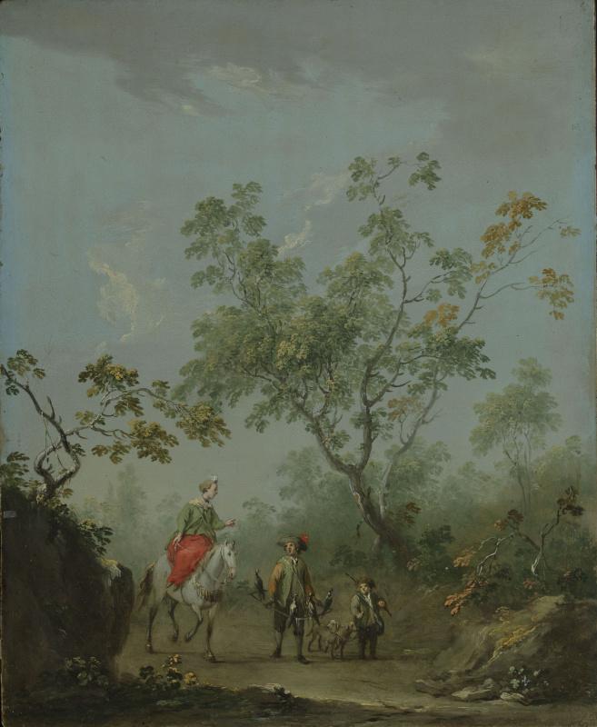 Сильванский пейзаж с дамой верхом, сокольничим и псарём