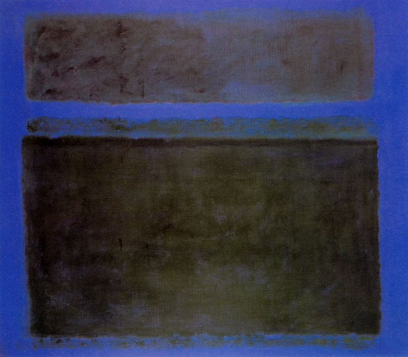 Rothko Mark.  No. 15 (Dark green on a blue background with a green stripe)