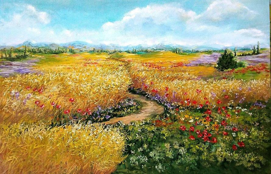 Marina Vladimirovna Patrikeeva. Expanse of golden fields