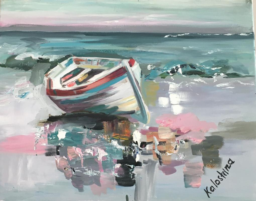 Maria Alexandrovna Kaloshina. Boat low tide