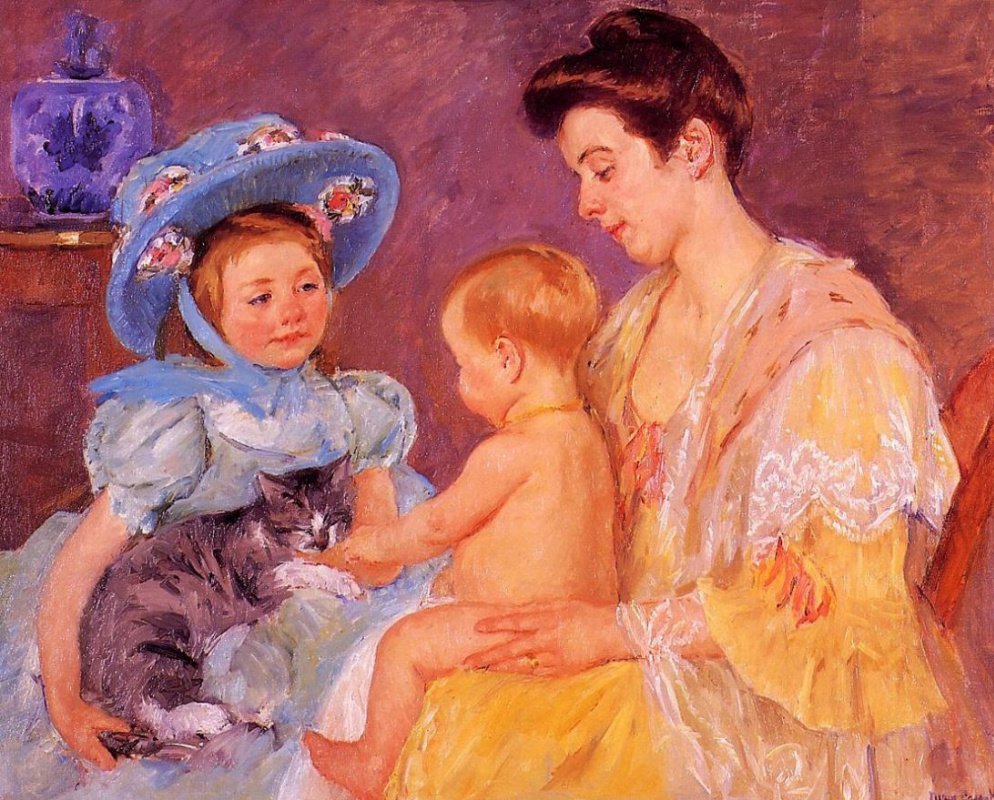 Mary Cassatt. Children playing with a cat