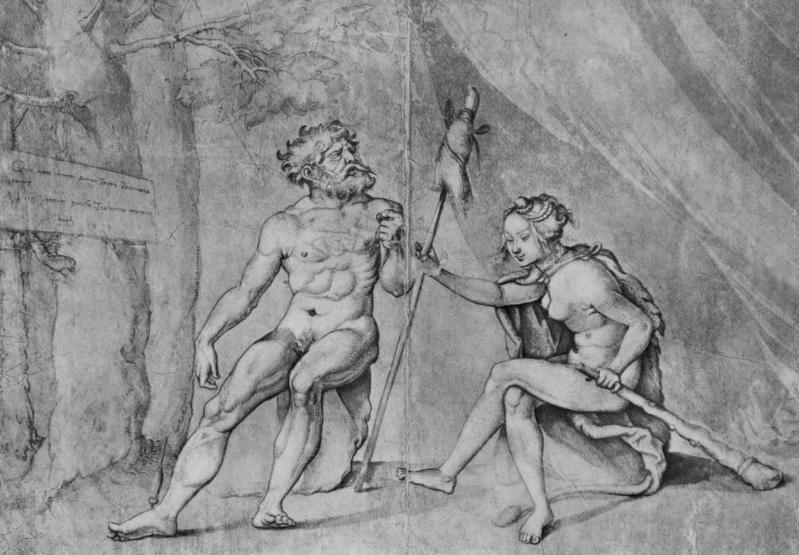 Ханс Бальдунг. Геракл у Омфалы, с прялкой