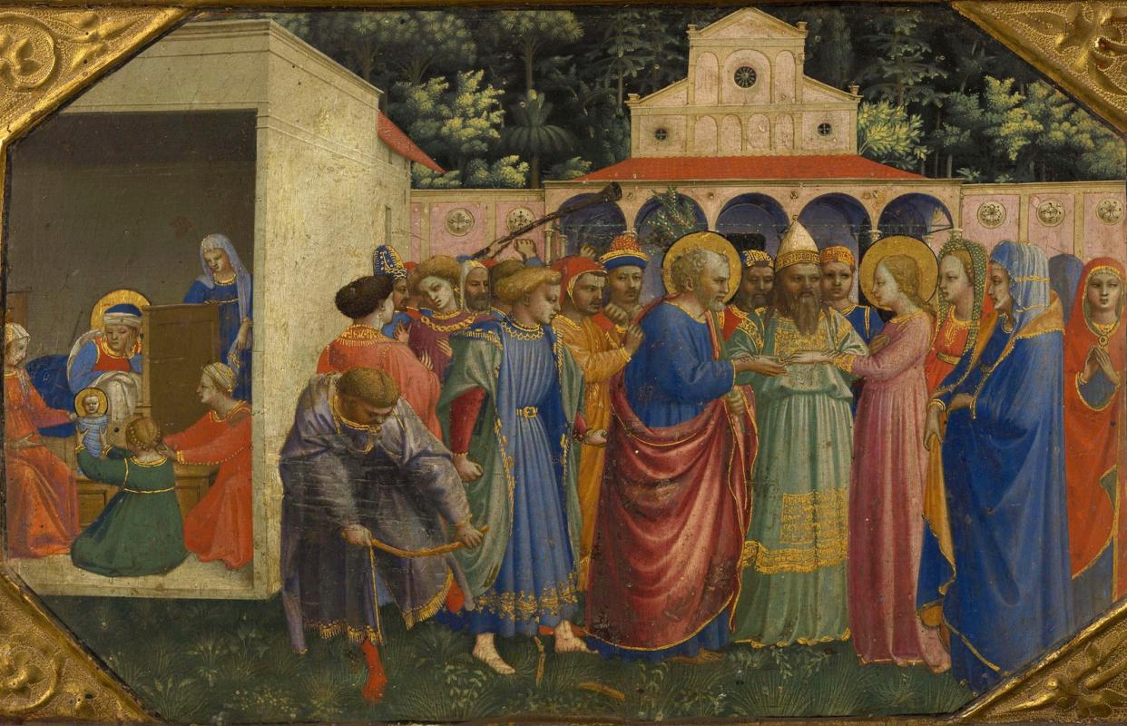 Фра Беато Анджелико. Рождество и обручение Богоматери. Пределла алтаря Благовещение Марии