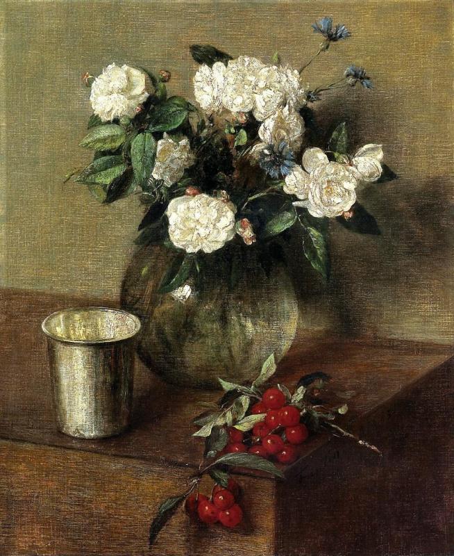 Анри Фантен-Латур. Белые розы и вишни