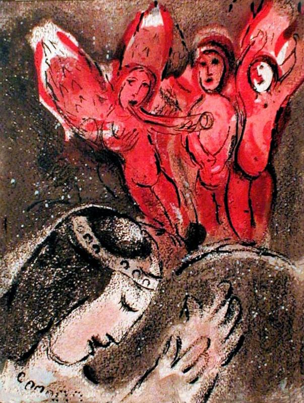 Марк Захарович Шагал. Сара и Ангелы. Серия иллюстраций к Библии