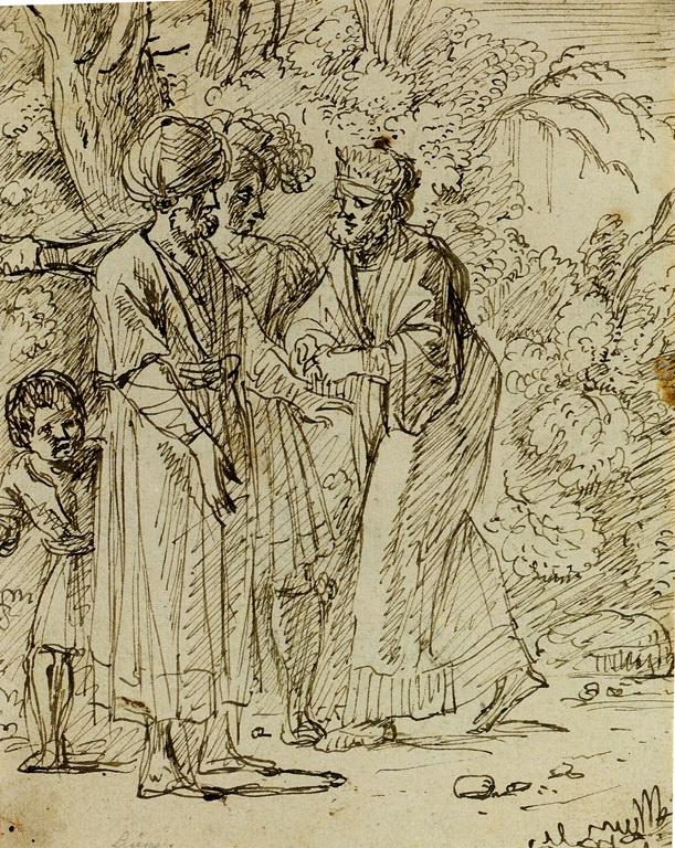 Ян Ливенс. Эскиз с тремя фигурами и мальчиком в лесу