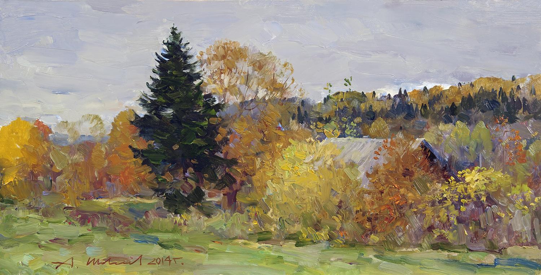 Alexander Shevelyov. Autumn in Sherehovichi.D.V.P. oil 30 x 60 cm 2014