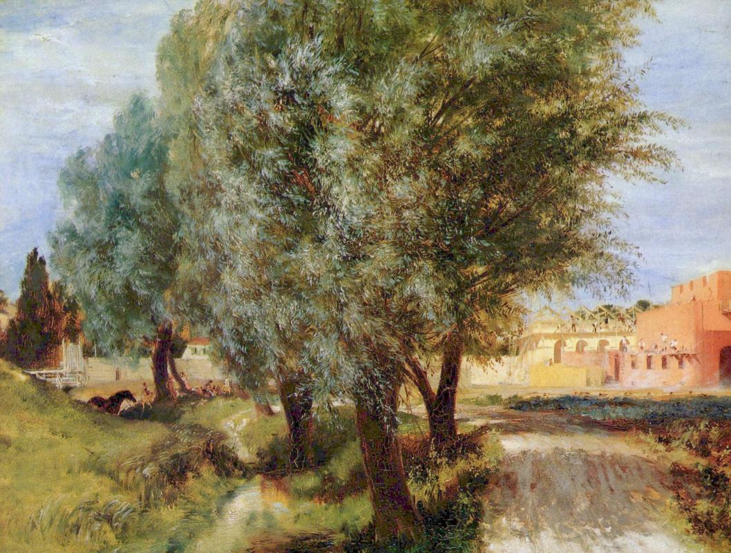Адольф фон Менцель. Стройка с ивами