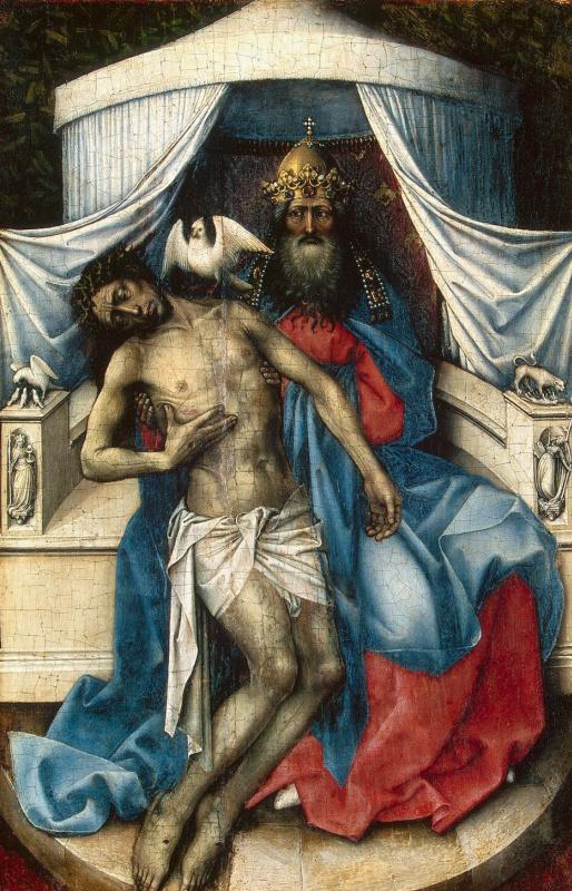 Робер Кампен. Троица. Левая створка диптиха