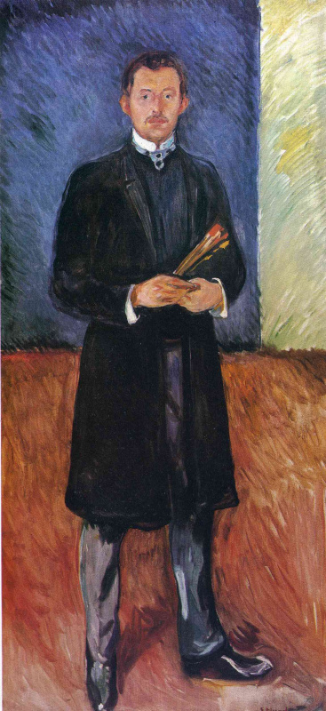 Edward Munch. Self-portrait with brushes