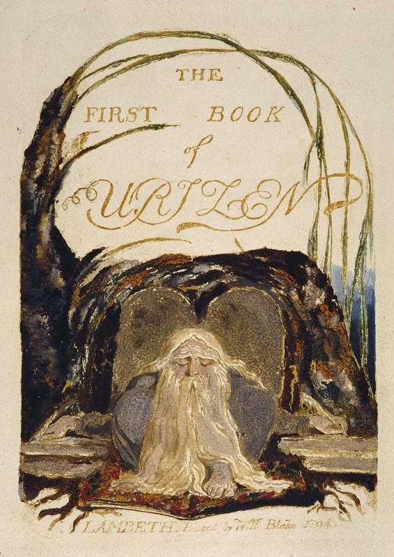 Уильям Блейк. Первая книга Уризена. Титульный лист. Уризен перед книгой