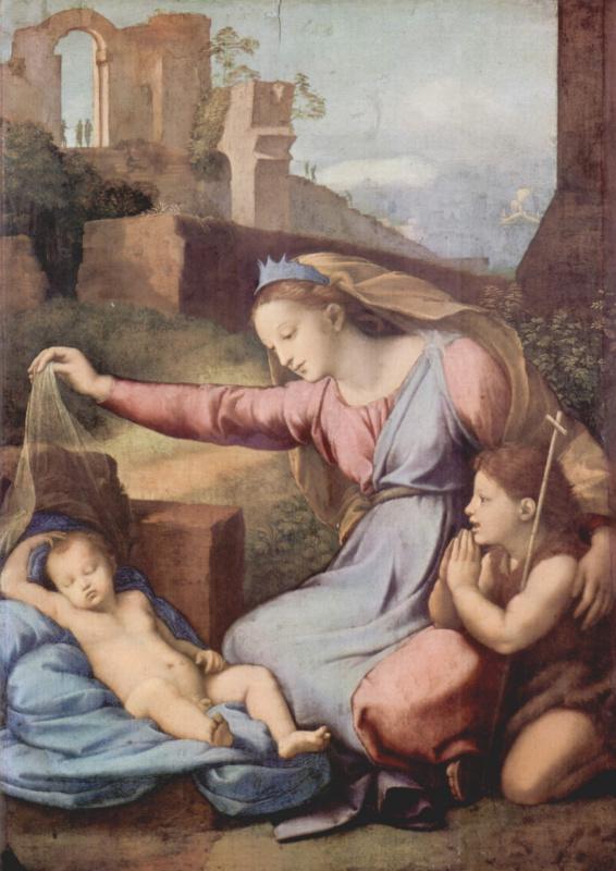 Мария и Иоанн Креститель поклоняются спящему младенцу Иисусу