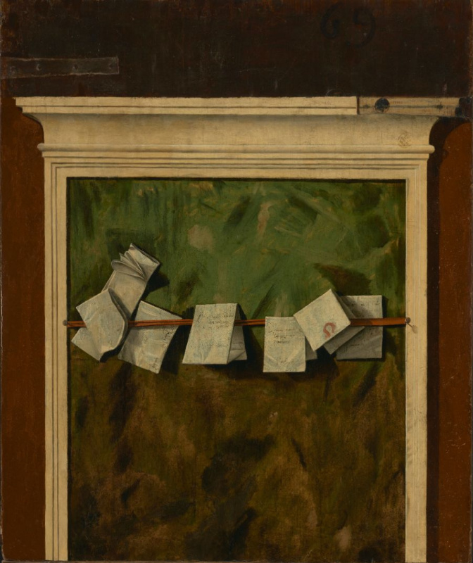 """Vittore Carpaccio. Panel for notes. The reverse side of the picture """"Hunting in the lagoon"""""""