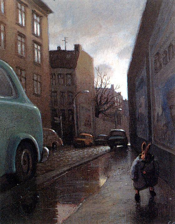 Михаэль Сова. Кролик на дождливой улице